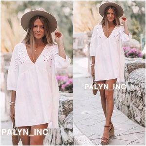 Zara Dresses - ZARA White Embroidered Mini Dress Tunic